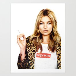 Kate Moss, Face, Lips, Fashion girl, Woman, Model, Fashion art, Photo, Minimal Art Print