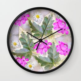 Leaves and flowers, digital painting Wall Clock