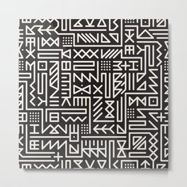 Black And White Rounded Line Geometric Hipster Signs Pattern Abstract Background Design Metal Print