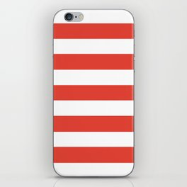 Vermilion - solid color - white stripes pattern iPhone Skin