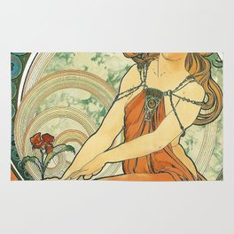 Vintage poster - Woman with flower Rug