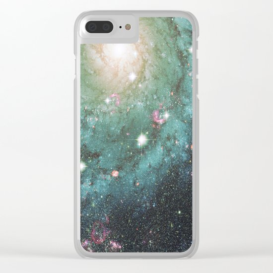 Old School Spiral Galaxy Clear iPhone Case