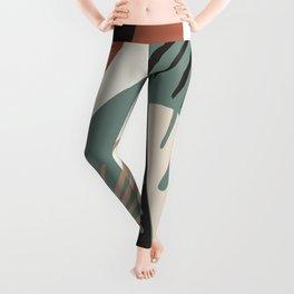 Minimal Yin Yang Monstera Fan Palm Finesse #1 #tropical #decor #art #society6 Leggings