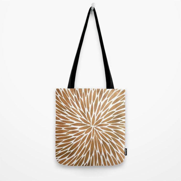 Rose Gold Burst Tote Bag