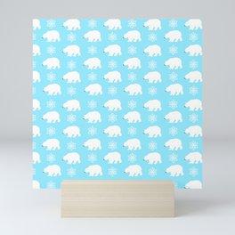 Polar bears with snowflakes Mini Art Print