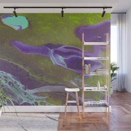 Fluid Art Acrylic Painting, Pour 32, Green, Purple, & Turquoise Blended Color Wall Mural