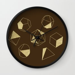 Dice Outline in Gold + Brown Wall Clock