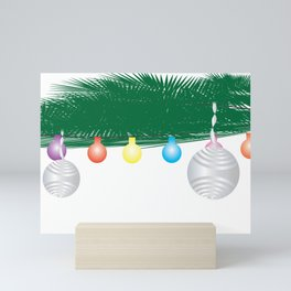 Green Leaves, Colorful Light Bunting and Silver Ornaments Mini Art Print