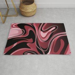 Liquify - Burgundy, Bordeaux Wine Red, Pink, Black Rug