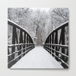 Winter Walk | Bridge Metal Print