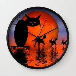 mooncat's catwalk Wall Clock