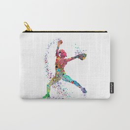 Baseball Softball Pitcher Watercolor Print Art Print Girl's Softball Painting Carry-All Pouch