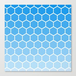 Bright blue gradient honey comb pattern Canvas Print