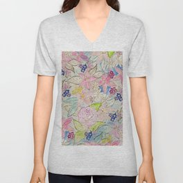 Watercolor and gold floral hand paint design Unisex V-Neck