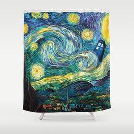 Tardis Art Starry Painting Night Shower Curtain