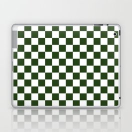 Large Dark Forest Green and White Check Squares Laptop & iPad Skin