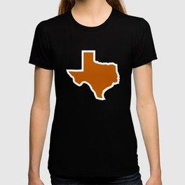 Texas Outline in Burnt Orange, Longhorns T-shirt