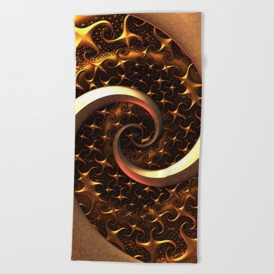 Golden Spirals Beach Towel