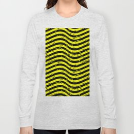 Wiggly Yellow and Black Speckle Pattern Long Sleeve T-shirt