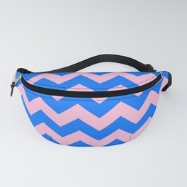 Cotton Candy Pink and Brandeis Blue Horizontal Zigzags Fanny Pack