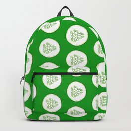 Cucumber slices pattern, green background Backpack