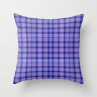 preppy Throw Pillows featuring Purple Plaid Preppy by michaelrosen