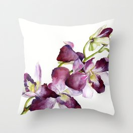 Radiant Orchids: Magenta Dendrobiums Throw Pillow