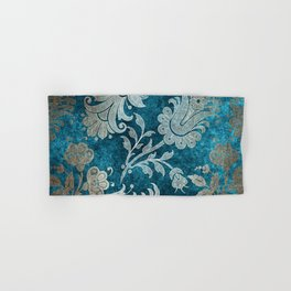 Aqua Teal Vintage Floral Damask Pattern Hand & Bath Towel