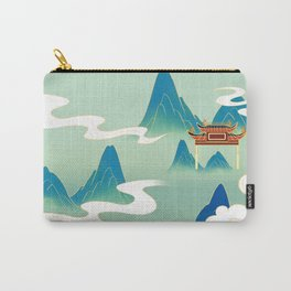 Nature landscape with mountains,clouds and pavilion Carry-All Pouch