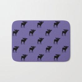 Bull Moose Silhouette - Black on Ultra Violet Bath Mat