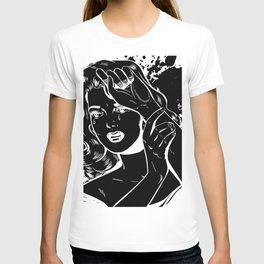 Crying Comic Book Damsel in Distress T-shirt