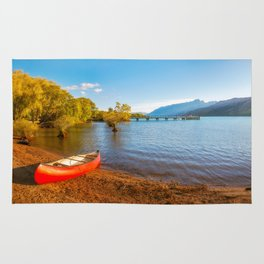 Glenorchy Wharf and pier at golden hour in New Zealand Rug