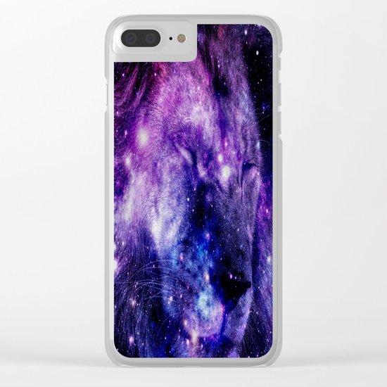 Lion Leo purple blue Clear iPhone Case