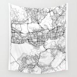 Shenzhen Map White Wall Tapestry