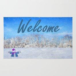Frosty Season's Greetings Rug