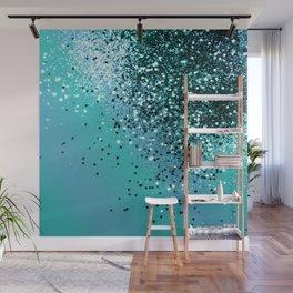 Aqua Blue OCEAN Glitter #1 #shiny #decor #art #society6 Wall Mural