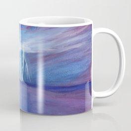 Night lightning illuminating the ocean bay Coffee Mug