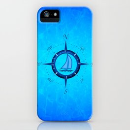 Sailboat And Compass Rose iPhone Case