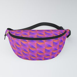 Pyromidal pattern of pink squares and striped orange triangles. Fanny Pack