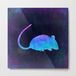RAT IN SPACE // Animal Graphic Art // Watercolor Canvas Painting // Modern Minimal Cute Metal Print