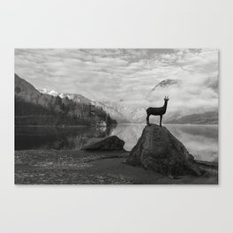 Deer statue.Bohinj Lake, Slovenia. Triglav national park Canvas Print