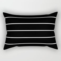 Black White Pinstripes Rectangular Pillow