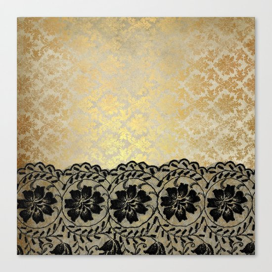 Black floral luxury lace on gold damask pattern Canvas Print