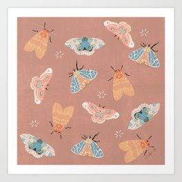 Moth Pattern - Pastels - Pink Art Print