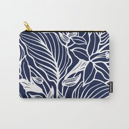 Navy Blue Floral Minimal Carry-All Pouch