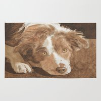 border collie Area & Throw Rugs featuring Border Collie Puppy Wren by Yvonne Carter