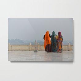Colourful Indian women at Taj Mahal Metal Print
