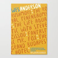 wes anderson Canvas Prints featuring Wes Anderson - Fantastic Mr. Fox by Laura Mace Design