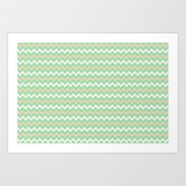 Pastel Green, Beige & Linen White Chevron Line Pattern Pairs to Noe Mint 2020 Color of the Year Art Print