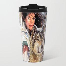 Mountain Woman With Wolfs Travel Mug